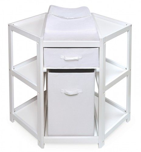 Diaper Corner Changing Table w/Hamper and Basket - White