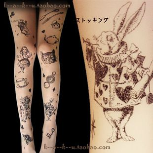Japanese Harajuku lolita Department of Forestry Alice in Wonderland tattoo stockings pantyhose retro zipper