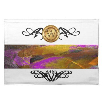 Elegant Monogram Colorful Abstract Art Purple Placemat - home gifts ideas decor special unique custom individual customized individualized