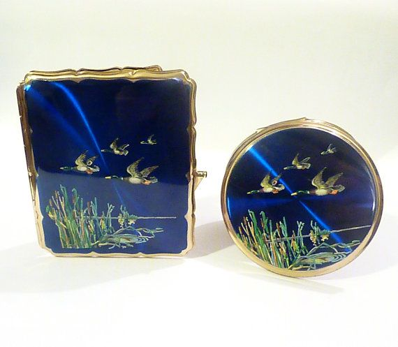 Vintage enamel Stratton cigarette case and matching powder compact business card cases vintage credit card cases enamel compacts 1960s gifts