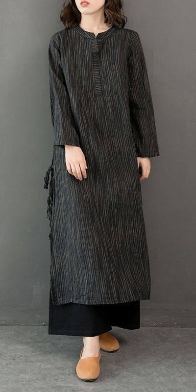 Vintage Baumwolle Leinen Maxi Kleider Frauen Casual Kleidung Q32122