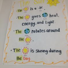 Image result for objects in the sky kindergarten anchor chart