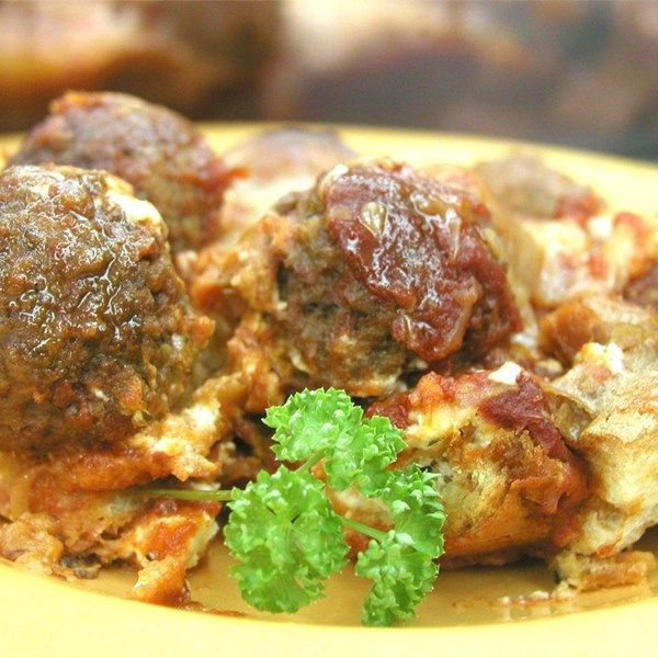 "Italian Meatball Sandwich Casserole I ""Made this for dinner last night and we loved it!! The cream cheese filling really makes the dish."""