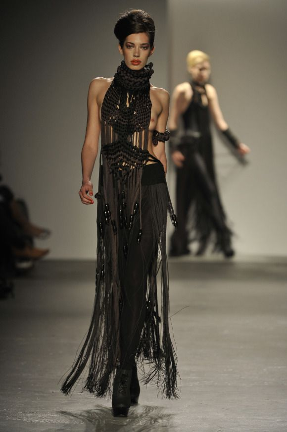 Eleanor Amoroso SS11 Hand-knotted Macrame Top and Fringe Skirt