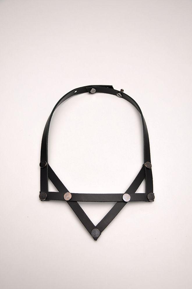 Aumorfia | LINEAR_A | PV_necklace | black leather & nickel studs