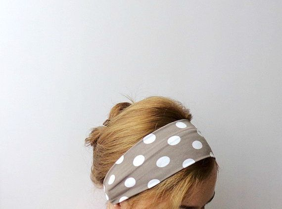 polka dot headband tan white workout headband wide sport head wrap hair band beach retro pin up beige exercise headband jersey stretch on Etsy, $14.90