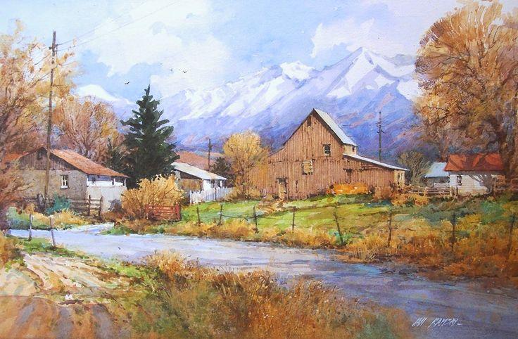 "Ian Ramsay Watercolors Station Farm 11"" x 17"" image watercolor"
