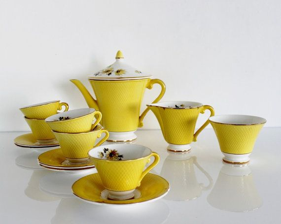 Yellow coffee set - Salins France, Cups and saucers, Coffee cups, Tea set, 13 pcs, D657