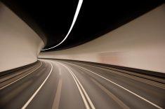 empty road tunnel stock photo