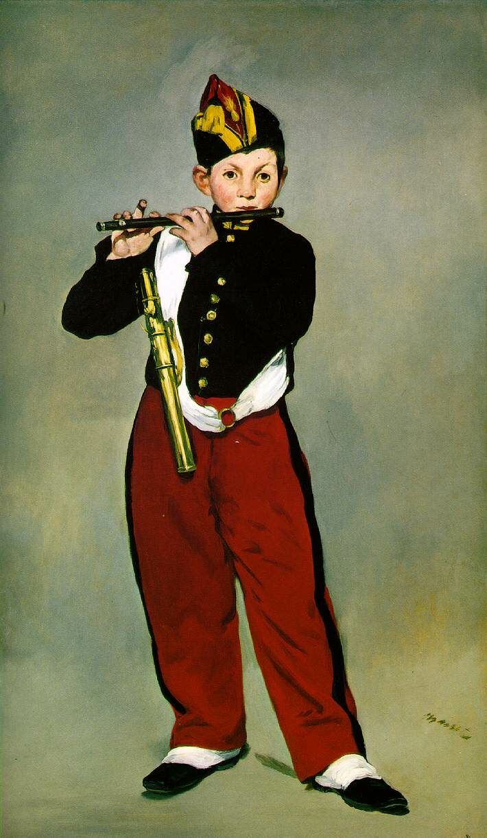 Tal día como hoy, el 23 de enero de 1832, nació Édouard Manet, pintor francés cuya obra será un referente para los iniciadores del impresionismo. En la imagen puede comprobarse la admiración por Velázquez, plasmada en obras como El pífano, así como por el cromatismo de Francisco de Goya. Más sobre esta pintura en: http://es.wikipedia.org/wiki/El_p%C3%ADfano
