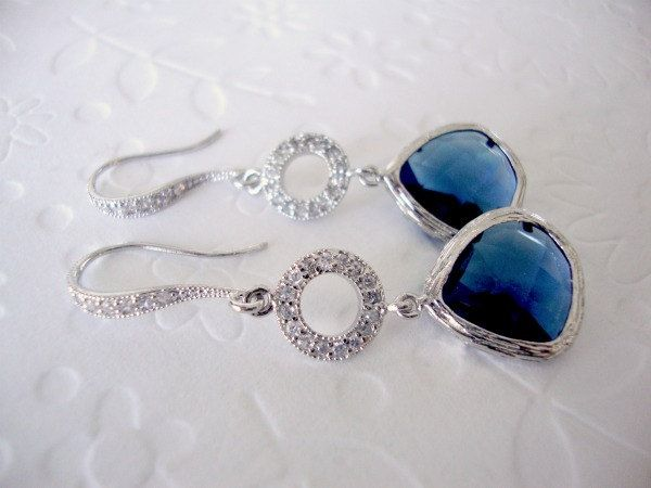 Sapphire earrings / Wedding earrings / Dangle Drop earrings / Blue sapphire Bridesmaid earrings with swarovski crystals and sapphire glass. $38.00, via Etsy.