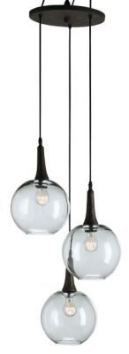 Beckett Trio Pendant from Currey & Company features adjustable height clear glass bulbs  hanging from a wrought iron base. The industrial look with it's staggered placement of globes offers a unique lighting solution that catches the eye. This light is ideal in a tall hallway or entry way of a room.  High ceiling need this light fixture.