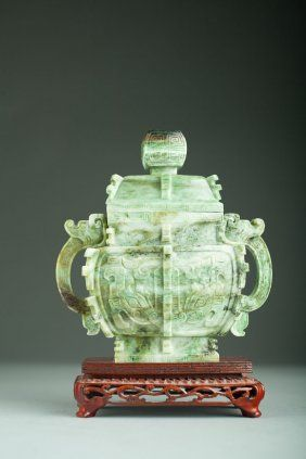 Mid 20th Century Chinese Jade Vase In Bronze Form
