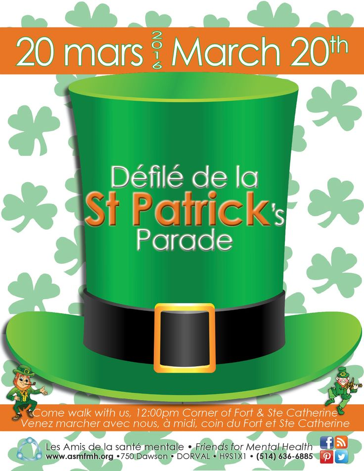 Save the date! March 20th, St Patrick's Parade. Come walk with us! http://bit.ly/20BbZR2  #mentalhealth #stopstigma