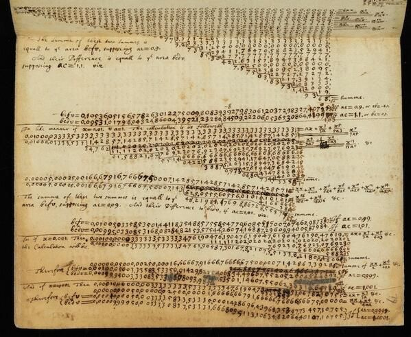 explore-blog:  The original Beautiful Mind, right here – a page from Sir Isaac Newton's notebooks, courtesy of the Cambridge University Libr...