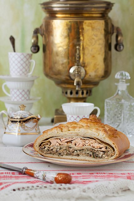 Kulebyaka - Russian pie with salmon and mushrooms