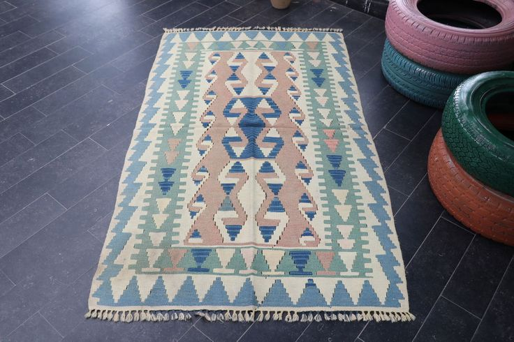 Turkish Aztec Kilim Rug 3.4 x 5.7 ft (103 x 173cm) NO 839