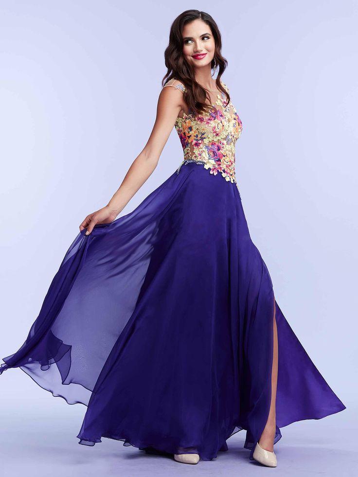 #floraldress #bluedress / Suknia wieczorowa z kwiatowym gorsetem i lekką, granatową spódnica