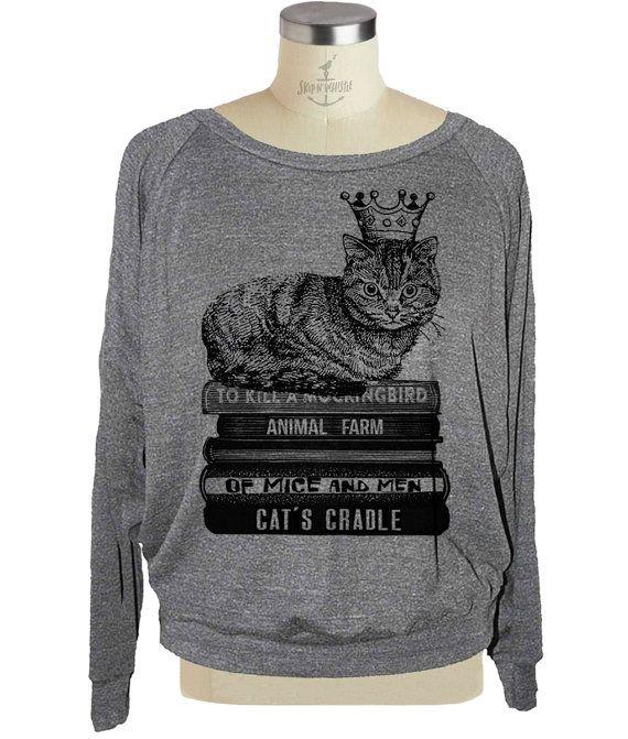 Womens CAT sweatshirt Flying Books raglan pullover American Apparel (sm med lg )