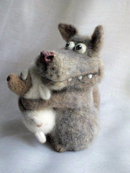 разрабатывал фото смешного волка из шерсти помощью карандашной