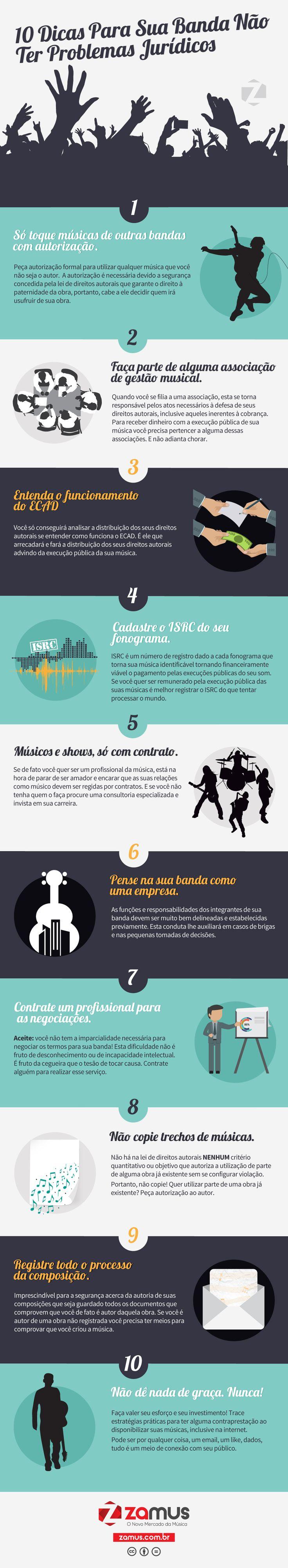 10 Dicas para sua banda não ter problemas jurídicos - #nmm #infografico #direito #autoral #zamus