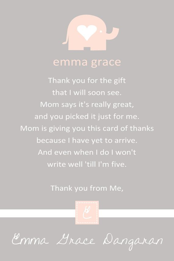 Pink Elephant Baby Shower Thank You Card   You Print   4x6 Or 5x7