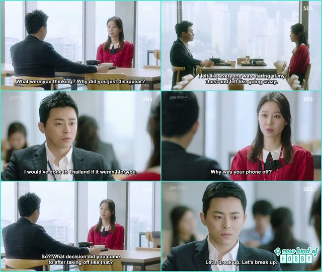 at the lunch table na ri ask hwa shin where he is hiding the whole week and why his phone is off hwa shin think of saying breakk up but said let;s not break up - Jealousy Incarnate - Episode 23 (Eng sub)