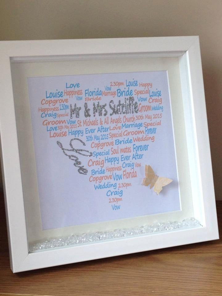 Wall art ~ Personalised shadow box frame wedding word art design ~ wedding gift ~ choose own words and colours ~ love hearts ~ 3d butterfly by FunkyDesignsbyDi on Etsy