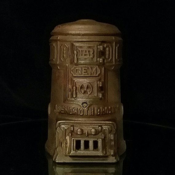 Antique Heater Advertising Gem Heaters Cast Iron Bank Safe Heater Piggy Banks Abendroth Bros. New York