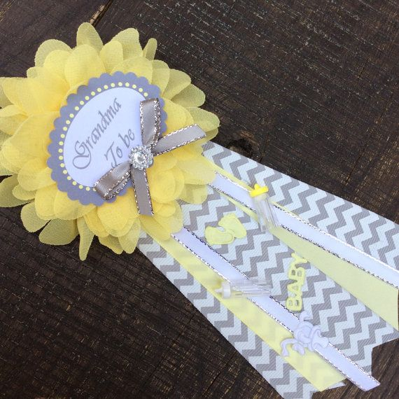 Small Baby Grandma To Be Pin Baby Elephant Theme Baby Shower  Yellow And  Gray