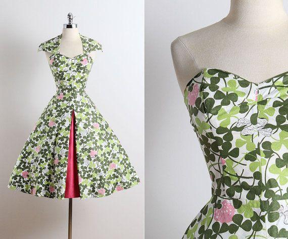 Clover Field . vintage 1950s dress . 50s halter dress . 5660