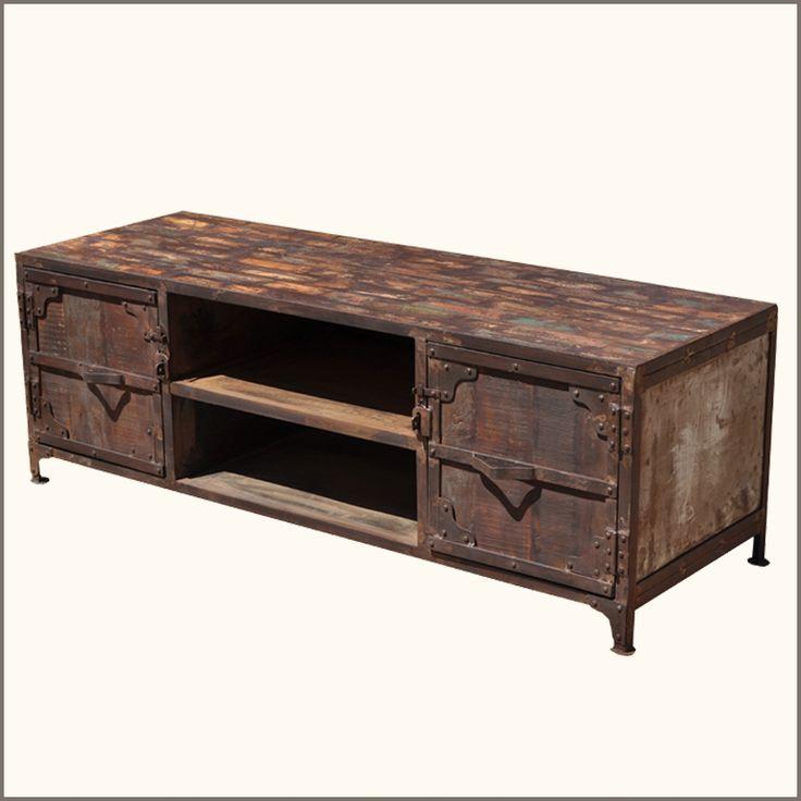 1 Nottingham Old Wood Iron 2 Shelf Low Media Center
