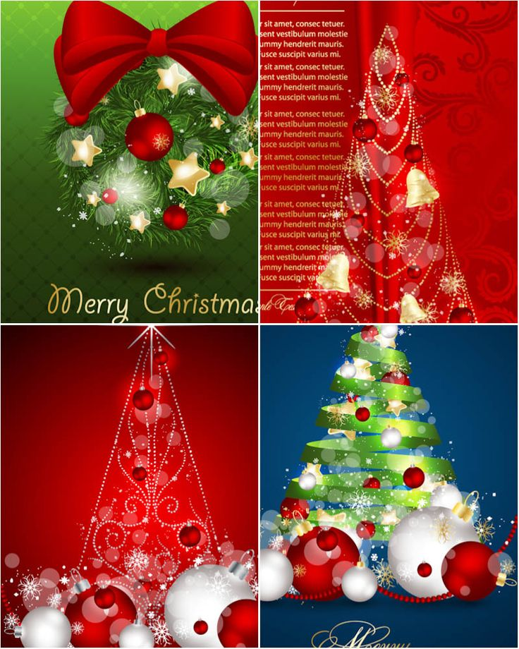 free ecard christmas party invitations%0A Greeting card with Christmas trees vector