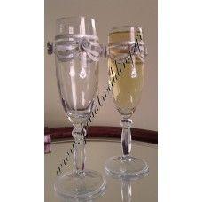 Ποτήρι σαμπάνιας γάμου κομψότητα Hand painted champagne wedding glass Elegance