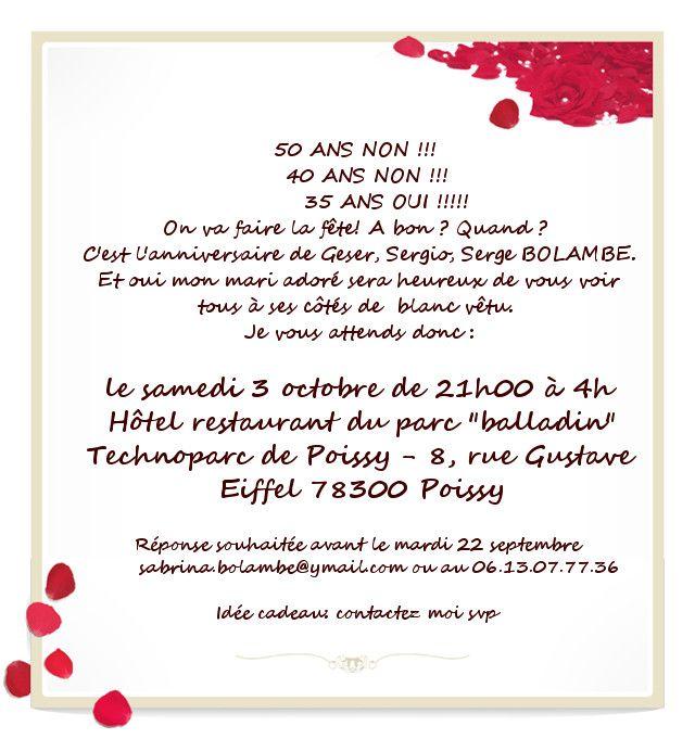 Texte D'invitation Anniversaire 50 Ans Gratuite Inspirational Texte Invi…   Texte invitation ...