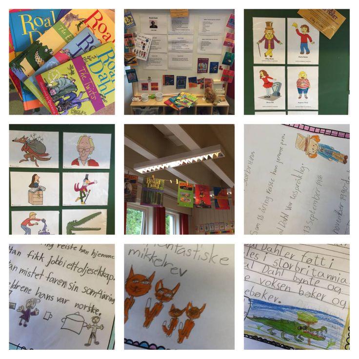 Litteraturuke Aronsløkka skole - Tema: Roald Dahl - klasserommet til 2b som hadde: Charlie og sjokoladefabrikken som sin bok.