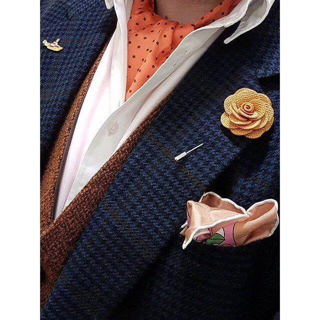 "cravat-club: "" ‪A cravat a day this week for blogger @nortonofmorton. Elegantly adorning our INDIANA silk cravat & DECO ISLAND DUSK silk pocket square…‬ #cravat #cravats #ascots #ascot #ascottie..."