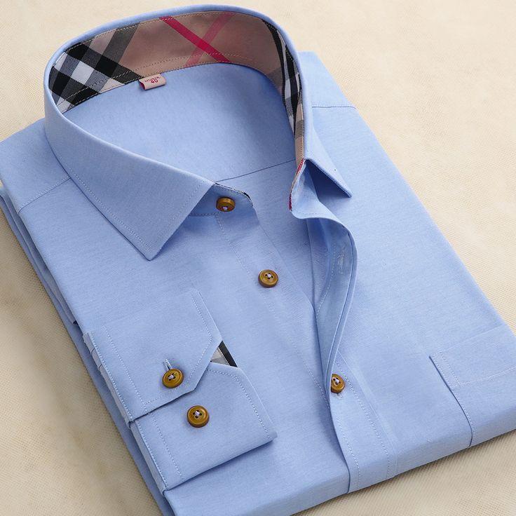Купить товар2015 мужская плед квадратный воротник классический морщин с длинным рукавом рубашки оксфорд бизнес свободного покроя тонкой сплошной цвет рубашки платья в категории Сорочкина AliExpress.                                            Размер диаграммы для мужчин
