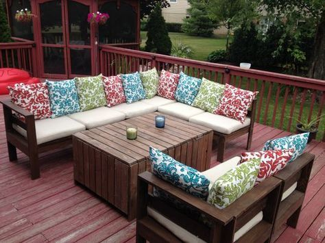 Modern Outdoor Sectional & Table | Do It Yourself Home Projects from Ana White