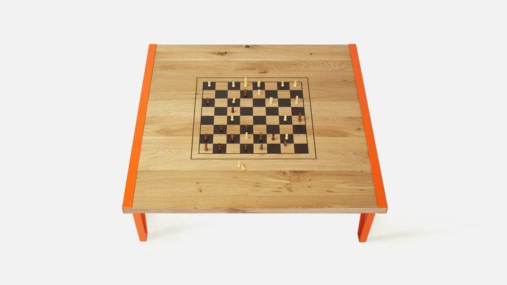 stolik i szachy - 2 w 1 w stylu industrialnym