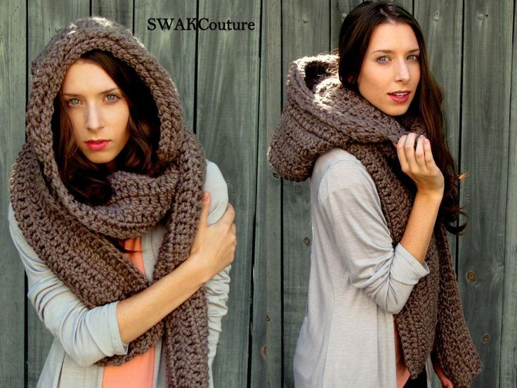 Oversized Hooded Scarf Lofty Wool Scarf Scoodie Scarf Mortar Brown.