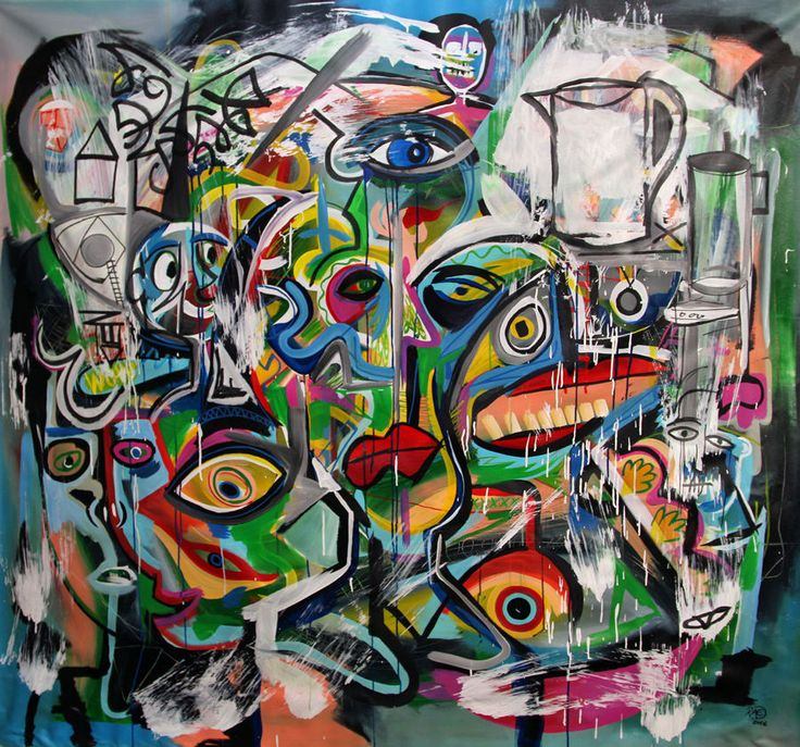 """70"""" HUGE ABSTRACT Modern PAINTING """"SPLAT"""" Street Art by RAEART #Abstract"""