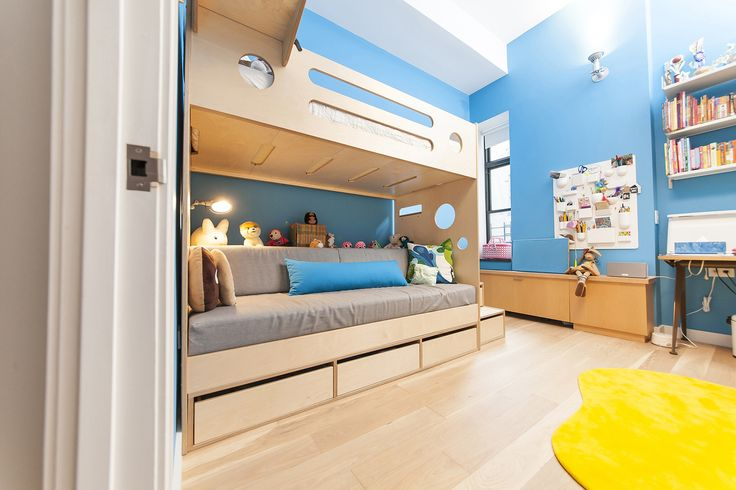 In a SoHo loft, we designed a Marino loft bed over upholstered daybed for Georgia's room. She decided on our birch finish to complement the floor and the rest of her furniture, and by keeping the pieces neutral, she'll easily be able to redecorate with any paint and accent colors she chooses. #CasaKids #KidsFurniture