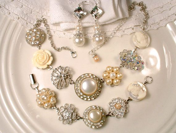 custom ooak ivory pearl rhinestone bridal statement necklace set silver vintage cluster earring wedding