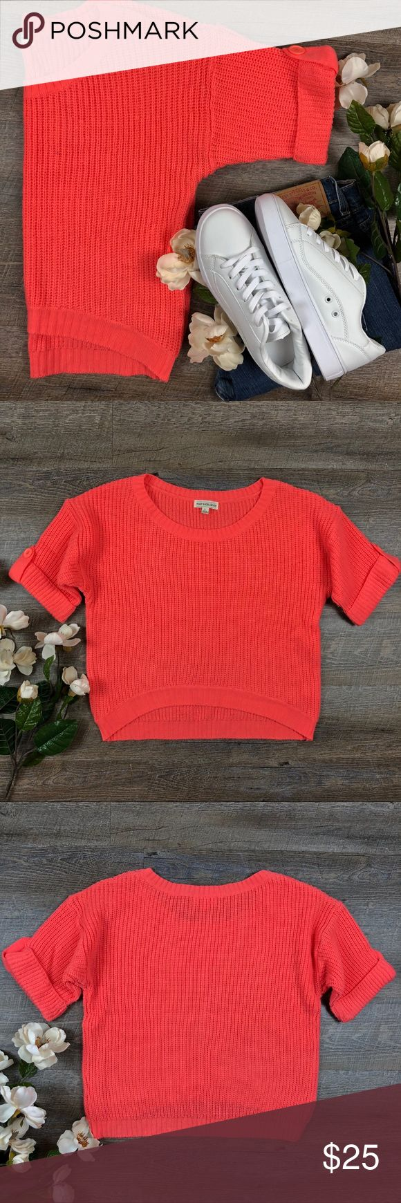Coral Poof Excellent Sweater Adorable short sleeved coral Poof Excellence sweater! In great condition. 100% acrylic. Size L. A-12 Poof Excellence Sweaters