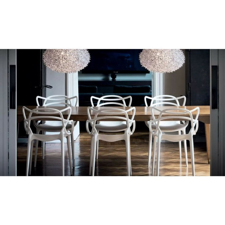 Philippe Starck for Kartell White Masters Chairs in Room