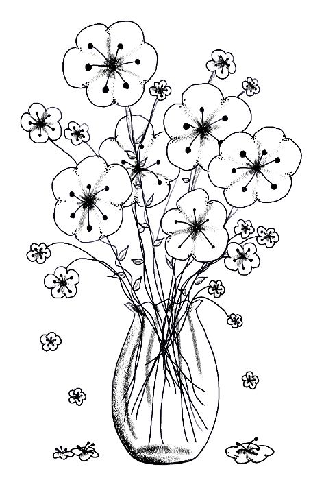 Line Art Flowers Husqvarna : Flowers in vase adult color pages pinterest bloemen