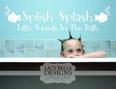 Splish Splash Little Squirts In The Bath vinyl wall decal ocean kids bathroom home decor