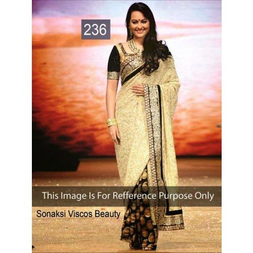 Indian Bollywood Replica Ethnic Sonakshi Golden & Black Viscose Saree - Online Shopping for Sarees by Ethnictrend