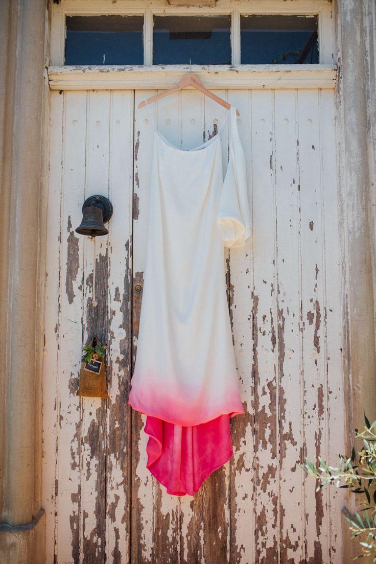 Dip dye pink wedding dress